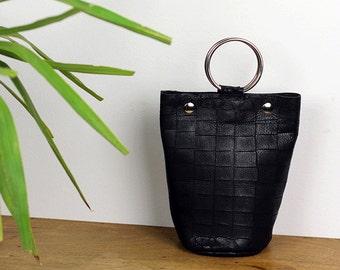 Little Black Bag/Ring Handle Bag/Wristlet Bag/Black Evening Bag/Mini Black Bucket Handbag– MiniSophiaEL2