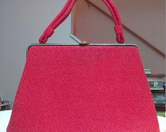 Vintage 1950s Red Heavy Weave Handbag With Falcon Metal Zipper