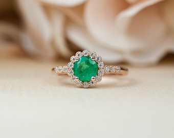 Emerald Engagement Ring, Emerald Ring, Rose Gold Ring, Halo Engagement Ring, Unique Engagement Ring, Vintage Inspired, Dainty