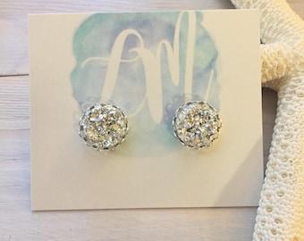 Silver Stud Earrings - Silver Druzy Earrings - Faux Druzy Earrings - Silver Bridesmaid Earrings - Silver Stone Earrings - Silver Bridesmaids