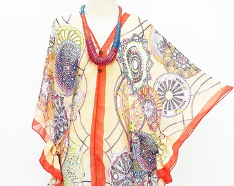 Kaftan Kimono Beach Cover up Bikini Coral Butterfly sleeves Tunic Gift Top Maternity Swimwear Plus size see through colorful Summer Beach