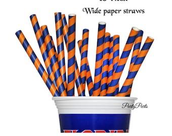 Blue and Orange Straws, School Colors, 10 CT, Graduation Decorations,Paper Straws, High School, Team Spirit, Florida Gators, Party Supplies