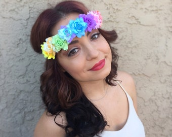 Pastel Rainbow Rose Headband - Rainbow Flower Crown - Rainbow Rose Halo Hair Wreath - Music Festivals - PLUR - Pride