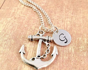 Personalized Anchor Necklace, Silver Anchor Necklace, Initial Necklace,  Anchor Necklace, Anchor Pendant, Anchor Charm
