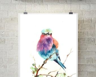 Lilac bird  art print, painting of bird, watercolor print, bird painting wall art, bird art