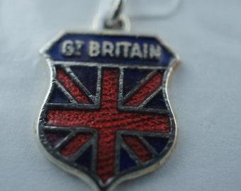 United Kingdom King silver plated  Pendant Charm Vintage Jewelry  Real Enamel GT Britain Modernist Art Deco u209
