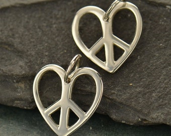 Sterling Silver Heart Shaped Peace Sign Charm