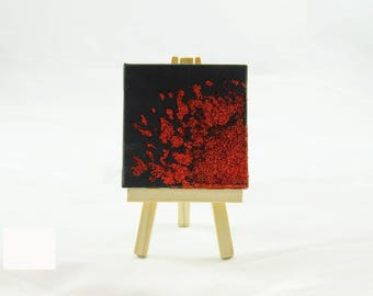 Red and Black Art, Red Glitter Art, Red Glitter Abstract, Square Mini Canvas, Small Canvas Art, Black And Red Canvas, Tiny Canvas Art
