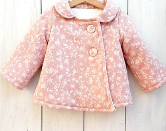Baby Coat, baby jacket, toddler Coat, girls Coat, Girl Jacket, Pink Floral Coat, Girls Clothing, Girl Toddler