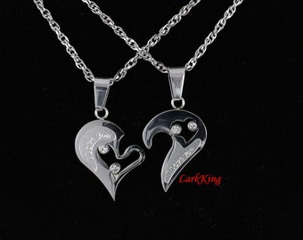 Couples heart necklace, couples necklaces, stainless steel heart necklace, love necklace, I love you necklace,  friendship necklace, NE6610