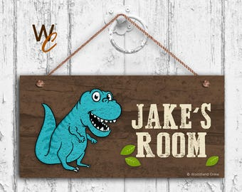 Blue T-REX Sign Woodland Dinosaur Personalized Sign Kid Name Kids Door