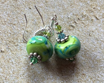Lime Sherbert Lampwork Earrings, Dangle Earrings, Lime Earrings, Lampwork Earrings, SRA Lampwork