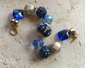 Blue Beaded Bracelet, Blue Glass Bracelet, Beaded Bracelet, Gift For Her, Beaded Jewelry