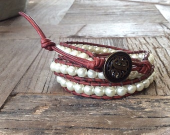 CatMar Beaded Pearl Wrist Wrap Bracelet on Brown Leather Cord and Button /Loop Closure