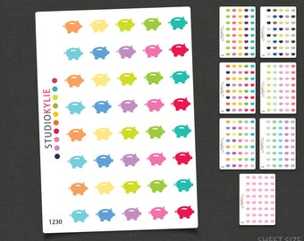 Piggy Bank - Money Planner Stickers  - Repositionable Matte Vinyl to suit all planners