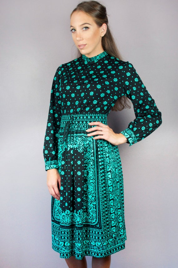 Vintage 60s Mod Mr Dino High Mock Turtle Neck Graphic Floral Flower Print Black Teal Long Sleeve Fit Flare Midi Dress + FREE GIFT w PURCHASE