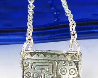 Inca Peruvian Kiln-Fired Fine Silver Pendant with Silver Filled Chain Necklace - Peruvian Inca Serpent Design Fine Silver Pendant Gift