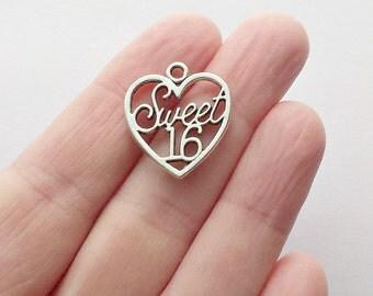 6 Sweet 16 Charms - Sweet 16 Pendants - Heart Charms - Heart Pendants - #S0264