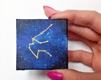 Aquarius Zodiac Magnet, Horoscope Aquarius Constellation, Constellation Painting, Milky Way Fridge Magnet, Astrological Sign, Original Art