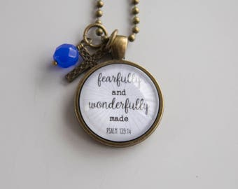 Scripture Necklace - Psalm 139:14 Christian Jewelry Scripture Pendant Bible Verse Fearfully Made Inspirational Custom Gift Woman Church
