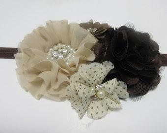 Brown Big Flower Headband, Chocolate Brown Headband, Beige Headband