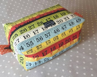 Colorful retro measuring tape fabric zippered boxy bag striped zipper pouch cosmetic bag knitting notions bag handbag organizer