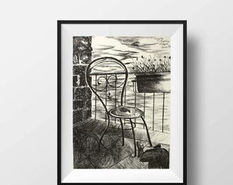 Black and white art, lithograph print, original prints, Italy print, Amalfi Coast, Art prints, Original art, Wall art, Buddha wall art