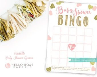 Pink and Gold Baby Shower Games . Baby Shower Bingo Game . Printable Baby Shower Game . Instant Download . Baby Shower Girl . Pink and Gold