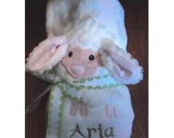 PERSONALIZED Love Ewe Cream White Lamb Baby Blanket