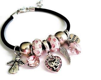 Charm Bracelet Boho Jewelry Leather Bracelet Silver Jewelry Pink Bracelet  Everyday Jewelry Heart Bracelet Mothers Day Gift Black Bracelet