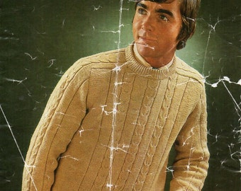 "vintage mens sweater knitting pattern PDF DK mens jumper cable panel round neck 40-44"" DK light worsted 8ply instant download"