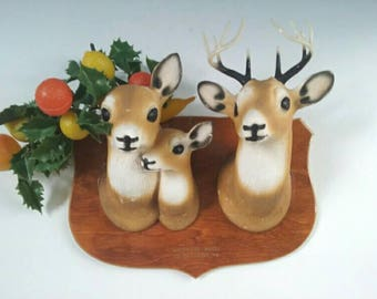 Awesome Upcycled Mounted Novelty Deer Wall Hanging, Vintage Wall Hanging, Souvenir Wall Hanging, Retro, Vintage, Souvenir Deer Mounting.