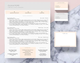 "Resume Template Package | CV Template + Cover Letter + Business Card + Thank You Note for MS Word | Instant Digital Download | The ""Olivia"""