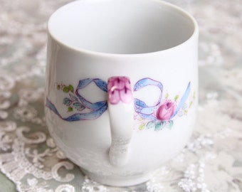 Hand Painted Lady's Mug with Rose and Ribbon