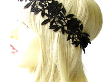 Black Lace Headband 1920s Headpiece Great Gatsby Flapper Hair Band Vintage 1807