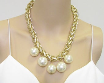 Ivory Gold Pearl Necklace 1920s Flapper Great Gatsby Vintage Diamante 30s 2321