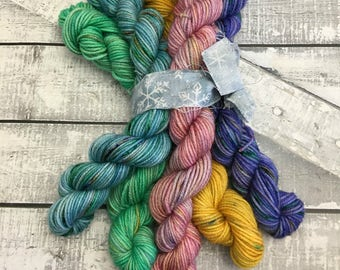 Hand Dyed Yarn Mini Skeins, Boho Mini Skein Set,Fingering Weight,100% Superwash,20 grams,indie dyed yarn,Bohemian Mini Skein Sock Yarn Set