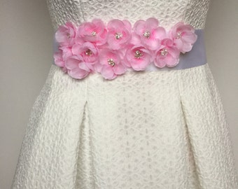 Wedding sash belt Cherry Blossoms  Bridal belt Sash with flowers Pink Floral wedding accessory Bridesmaid sash Lace