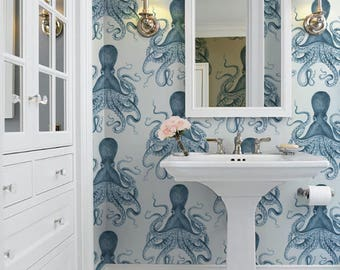 Octopus Peel 'n Stick Wallpaper / Indigo (or color of your choice!)