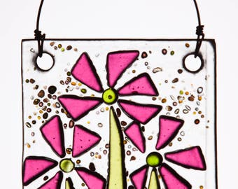 Fanciful Pink Flowers in Fused Glass.  The Perfect Fresh Ornament!