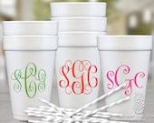 Monogram Foam Cups   Personalized Styrofoam Cup   Script Monogrammed Cups