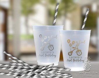 2nd Birthday Party Cups | Personalized Frosted Cup | Monogrammed Cups | Personalized Plastic Cups | Tricycle Party Cups | social graces Co.