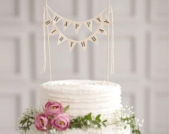 Happy Birthday Cake Banner, Birthday Cake bunting, Happy birthday sign, Party cake topper