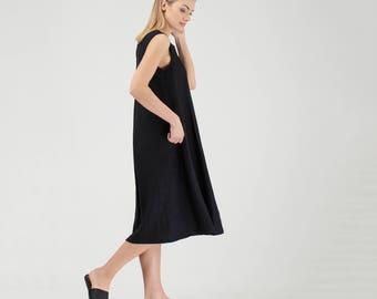 Custom Linen Dress / Black Linen Dress / Long Linen Dress / Maternity Dress / Linen Loose Maxi Dress / Oversized Dress / Black Maxi Dress
