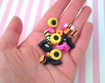 Black Licorice Candy Allsorts Polymer Clay Beads, Pick your size and amount #927