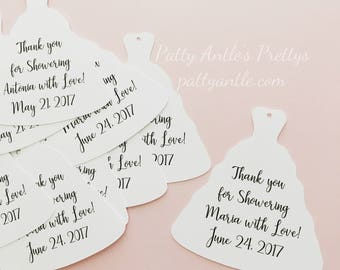 Bridal Gown Thank You Tags, Personalized Bridal Gown Thank You Tags, Wedding Tags, Wedding Thank You Tags, Wedding Shower Tags, 24 Ct.