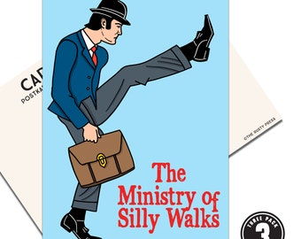 The Ministry of Silly Walks, Pack of 3 Postcards, Monty Python, Hand Illustration