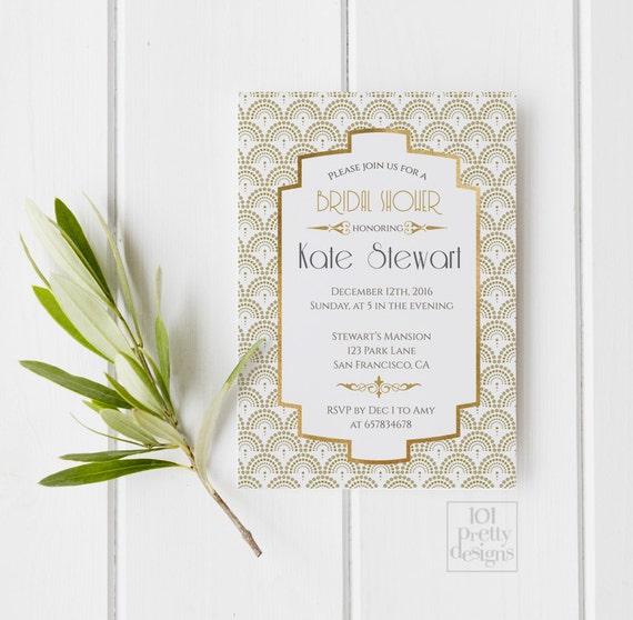 Art deco bridal shower invitation template gold foil bridal shower il570xn filmwisefo Gallery