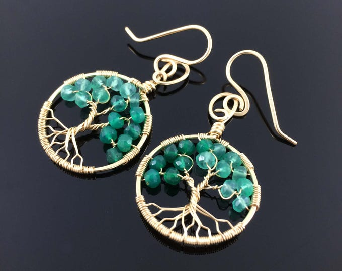 Gold Tree-of-Life Earrings Emerald Green Onyx Earrings May Birthstone Gold Emerald Necklace Taurus Birthstone Tree Jewelry Charms Tree Ring