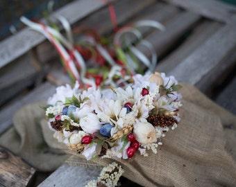 Bridal hair wreath Folk hair wreath Wreath with  poppyheads Romantic wedding wreath Veil of ribbons Magaela accessories Hair jewellery